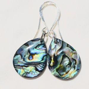 Jewelry - Abalone teardrop earrings with silver ear wires